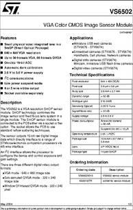 VS6502V015 datasheet - VGA Color CMOS Image Sensor Module