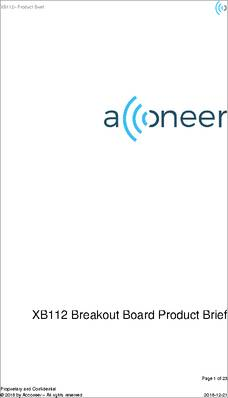 XB112 datasheet - The pulsed coherent radar module XM112