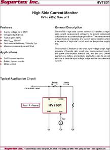 Hv7801 Datasheet High Side Current Monitor