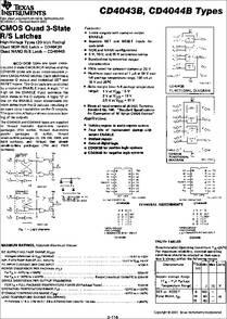 CD4043B datasheet - CMOS Quad 3-state R/s Latches