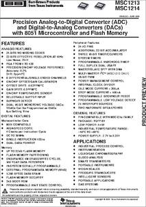 MSC1214Y4 datasheet - Precision A/D & D/A With 8051 Microcontroller