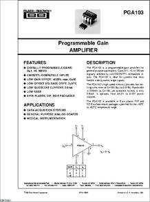 1X PGA103P  Programmable Gain AMPLIFIER  PGA103