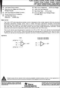 TL081 datasheet - JFET-input Operational Amplifiers