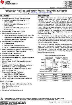 TPA3118D2 datasheet - 50-W Stereo (BTL) Cl-D Audio Amp W ...
