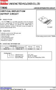 T78040 datasheet - Vertical Deflection Output Circuit