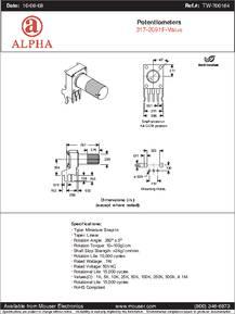 RV09AF-20-20K-B10K datasheet - Specifications: Manufacturer: Alpha