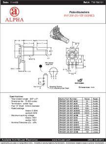 RV120F-20-15F-B10K datasheet - Specifications: Manufacturer: Alpha