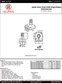 RV141F-40-20BL-B20K datasheet - Specifications: Manufacturer: Alpha