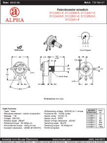 RV170SF-10-15R1-B50K datasheet - Specifications: Manufacturer: Alpha