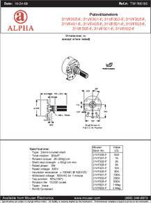 RV24AF-10-20K-B500K datasheet - Specifications: Manufacturer: Alpha