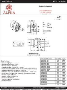 RV24BF-10-15R1-B250K datasheet - Specifications: Manufacturer: Alpha