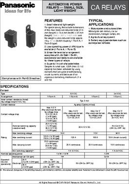 Ca1 Dc12v N Datasheet Specifications Relay Type