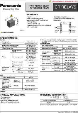 CR212V datasheet Specifications Relay Type Automotive