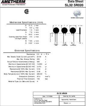 SERIES SL32 AMETHERM THERMISTOR SL32 5R020