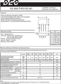 KBL301 datasheet - Current 3 0 Amperes Voltage 50 to 1000 Volts