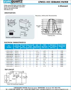 Ltw33 455ht Datasheet Ceramic Filter